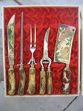 5 Pc Box Carving Knife Set ANTON WINGEN Jr SCWNGEN GERMANY ROSTFREI Meat Cleaver