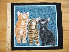 "Counting Three Kittens Tabby Blue Eyes  Cotton Quilt Fabric Block 10"" x 10 1/2"""