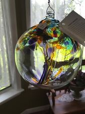 """Kitras Art Glass - FAIRY ORB - Witch Ball - Hand Blown Glass Ornament - 6""""   NWT"""