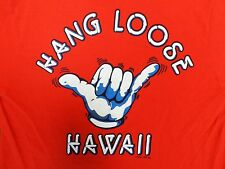 vtg Hang Loose Hawaii T Shirt 80s shaka Poly Tees red Nice Med two sided !