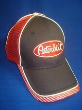 PETERBILT HAT :    CHARCOAL GRAY / RED MESH TRUCKER'S CAP   *FREE SHIP IN USA*