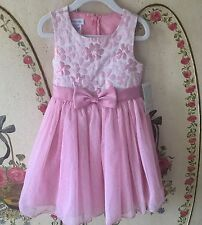 NEW NWT Toddler Girl's Size 4T Bonnie Jean Jacquard Floral Tulle Party Spring
