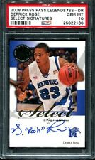 PSA 10 DERRICK ROSE PRESS PASS SIGNATURES AUTOGRAPH CHICAGO BULLS RC AUTO 2008