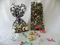 50 CELLO FAVOR BAGS BLACK FLORAL DAMASK 4X2X9 WEDDING