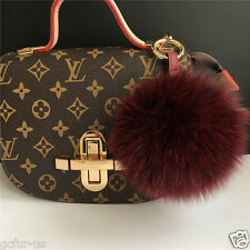 "5"" Burgundy Real Fox Fur Pom Pom Ball Leather Bag Charm Key Chain Ring Finder"