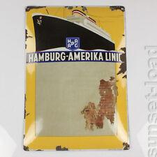 altes Email Schild HAPAG Hambug America Linie Aushang Emaille 30er Jahre vintage