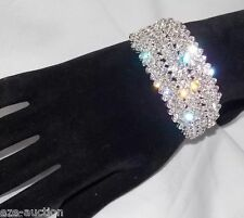 WEDDING BRIDAL SILVER PLATED W. CLEAR RHINESTONE CRYSTAL BRACELET / CUFF