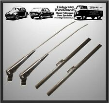 "Vintage & Classic Car 10"" Stainless Steel Flat Wiper Blades & Wiper Arm Set"