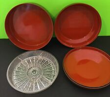 VINTAGE NASCO JAPAN NESTING RELISH DISHES/SERVING BOWLS LACQUERED PLASTIC