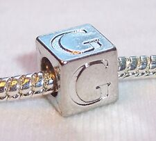 Letter G Cube Charmadillo Jewelry Bead fits Silver European Style Charm Bracelet