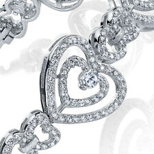 Sterling Silver Cubic Zirconia Heart Tennis Bracelet set with Brilliant Cut CZ's