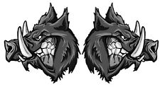 GREY BOAR PIG HOG HUNTING VINYL DECAL  60Mm by 62 Mm Left And Right STICKER