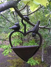 Vintage Cast Iron Wild Bird Feeding Station Garden Water Bath Hanging Feeder