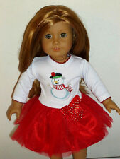 "Holiday Snowman Red Tutu Dress for 18"" American Girl Doll Clothes"