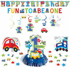All Aboard Boys 1st Birthday Baby Party Decoration Pack Kit Blue Cars Trains