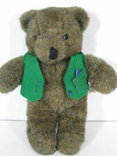 Baby Grizzly North American Bear Stuffed Plush  Vintage 1982  Brown Green Vest