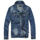 HN144_C New Men's Jeans Biker Bomber Button Washed Casual Denim Jacket Dark Blue