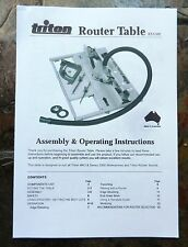 TRITON ROUTER TABLE RTA300 OPERATING MANUAL