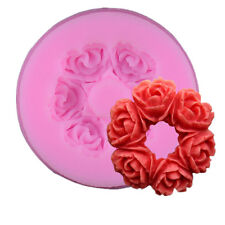 3D Rose Wreath Silicone Fondant Mold Cake Candy Decorating Mould Christmas Gift