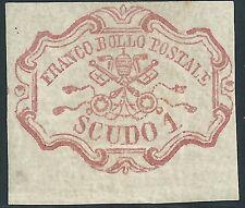 1852 Pontificio 1 scudo rosa carminio nuovo bordo gomma originale splendido *