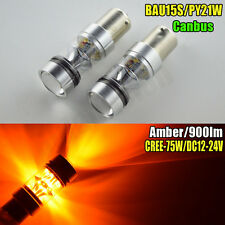 2x AC12-24V 100W Bau15s PY21W CANBUS High Power LED Turn Signal Light Bulb Amber
