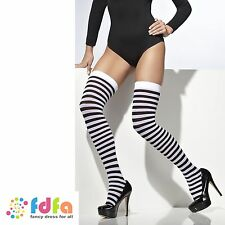 BLACK & WHITE STRIPE OPAQUE SHEER HOLD UPS STOCKINGS ladies womens hosiery