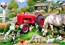3D Lenticular picture farm scene tractor cows sheep hens pigs collies 39x29cm