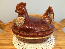 Vintage Hull Art Pottery USA Brown Drip Chicken on nest Covered Dish Casserole