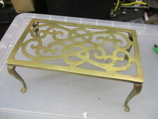 Antique Brass Trivet Cake Planter Iron Stand Vintage Old Ball & Claw French