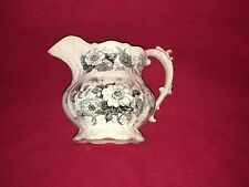 Staffordshire Black Transferware Pitcher Floral Molded Transfer Ca. 1835