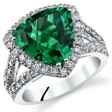 5.00CT Lab Created Trillion Emerald Sterling Silver Ring SR11040 Sizes 5-9