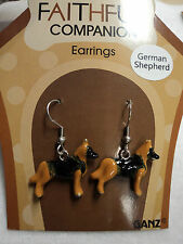 bb German Shepherd FAITHFUL COMPANION EARRINGS fish hook surg steel dog lover