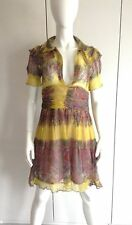 VINTAGE 40'S DRESS ADAPTED FROM A 30'S VNTGE DRESS SILK CRINKLE CHIFFON UK SZ 8