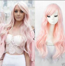 Wavy Female Hot Women No Lace Wig curly Hair full wigs Fashion long light Pink