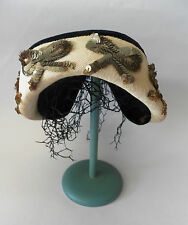 VINTAGE 1950s WOMENS HAT BLACK VELVET CREAM SHOT SILK SEQUINS & BLACK NET AS IS