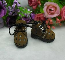 "12"" Neo Blythe Pullip Momoko Obitsu Bjd Doll Shoes Velvet Star Hole Boots BROWN"