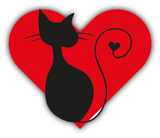"Cat Heart I Love You Car Bumper Sticker Decal 5"" x 4"""
