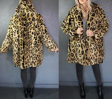 Vintage FAUX FUR Animal LEOPARD Cheetah PLUSH Swing COAT S/M Neiman Marcus MINT