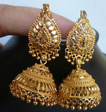 South Indian Bridal 22k Gold Plated 4 cm Long Ball Bead Drop Jhumka Earrings