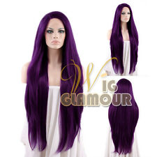 "Long Straight 28"" Purple Lace Front Wig Heat Resistant"