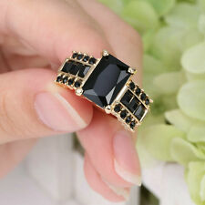 Princess Cut Black Sapphire Wedding Ring 10Kt Black Gold Filled Women's Size 6
