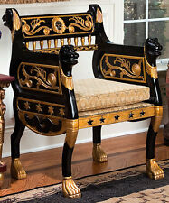 Ancient Roman Throne Chair Furniture Hand-Carved hardwood antique replica