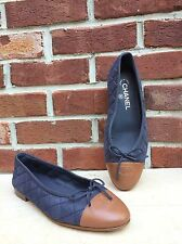 CHANEL Navy Blue Quilted Brown Cap Toe Leather Ballerina Flats Size 38.5 RARE!