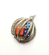 Vintage 925 Sterling Silver CASINO DICE ON CAGE Charm 3.9g