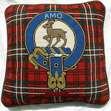 Scott Cushion Cover  Clan Needlepoint Pillow  Handmade  Scotland Tartan