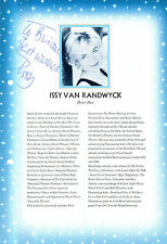 ISSY VAN RANDWYCK HANDSIGNED 10 x 7 BIO PAGE FROM THEATRE PROGRAMME