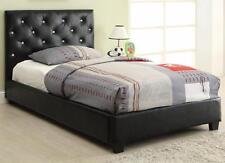Regina Black Fabric Upholstered Twin Bed with Button Tufting by Coaster 300391T