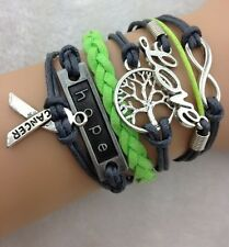 NEW Hot Retro Infinity LOVE Anchor Tree Leather Charm Bracelet plated Silver B00