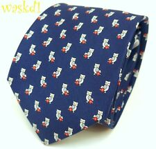 SALVATORE FERRAGAMO navy with Gray OWLS & Red Flowers silk MENS tie NWT Authentc