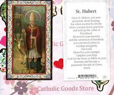 St Hubert with Prayer to St Hubert - Gold Trim - Paperstock Holy Card